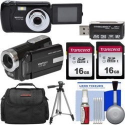 Vivitar ViviCam VXX14 Selfie Digital Camera & DVR-508 HD Camcorder Kit Black