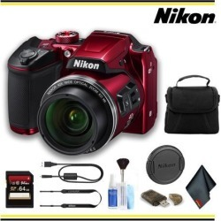 Nikon COOLPIX B500 Digital Camera (Red) Starter Bundle