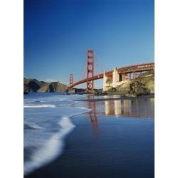 Looking Along Baker Beach Towards The Golden Gate Bridge, Blurred Motion Poster Print (13 x 18)