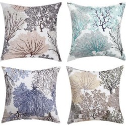 Linen Pillow Covers Square Geometric Patterns Throw Pillow Cases Decorative Pillow Cushion Cover Set for Home Sofa Couch Bed 18X18 Inch Pack of 4, #2