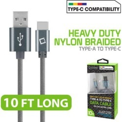 10ft Braided Nylon Type-C USB Charge Data & Sync Cable for Galaxy S8 / S8 Plus