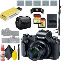 Canon PowerShot G1 X Mark III Digital Camera & 128GB MicroSD x2 & Carrying Case & Battery x4