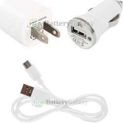 Type C USB Cable Cord+Battery Home Wall+Car Charger Mini for Android Cell Phone