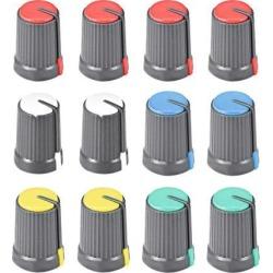 12Pcs Potentiometer Volume Control Knob Cap Plastic Multicolors 6mm Shaft 12mm X 17mm