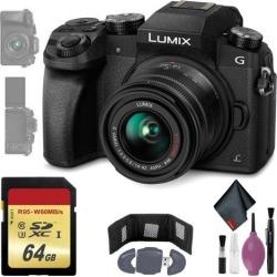 Panasonic Lumix DMC-G7 Mirrorless Micro Four Thirds Digital Camera w/ 14-42mm Lens (Black) - 64GB - Memory Card Wallet & Reader