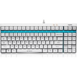 Rapoo V500 87 Keys Wired Gaming Mechanical Keyboard Blue Switch for PC/Laptop - White
