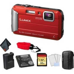 Panasonic Lumix Waterproof Digital Camera (Red) - Bundle with 32 GB Memory card + Floating Wrist Strap + LCD Screen Protectors and MORE