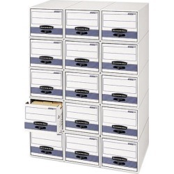 Bankers Box 00312 Stor/Drawer Steel Plus Storage Box, Legal, White/Blue, 6/Carton