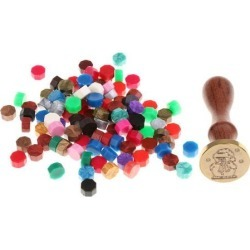 Vintage Sealing Wax Stamp Santa Claus + Wax Beads for Party Invitation Cards