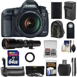 Canon EOS 5D Mark III Digital SLR Camera with EF 24-105mm L IS USM Lens with 500mm Telephoto Lens + 64GB Card + Grip + Battery & Charger + Backpack.