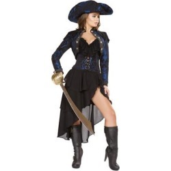 Roma Costume 4652-AS-S 4 Piece Captain of the Night Adult Costume, Black & Blue - Small