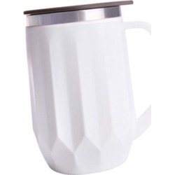 400ML Stainless Steel Insulated Coffee Tea Mug Cup with Handle and Lid White
