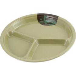 Unique Bargains School Canteen Tableware Round Shape Three Lattice Dish Plate 10' Dia