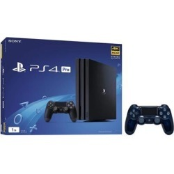 PlayStation 4 Pro 1TB Jet Black 4K HDR Gaming Console Bundle With an Extra Sony 500 Million Limited Edition Translucent Blue DualShock 4 Wireless.