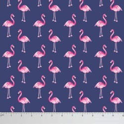 Soimoi Flamingo Print 60 GSM Dressmaking Cotton Fabric For Sewing By The Meter 58 Inches Wide - Blue