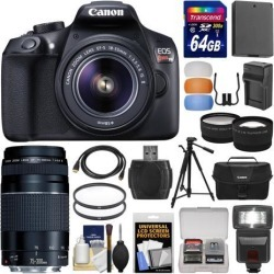 Canon EOS Rebel T6 Wi-Fi Digital SLR Camera & EF-S 18-55mm IS II with 75-300mm III Lens + 64GB Card + Case + Flash + Battery & Charger + Tripod + Kit