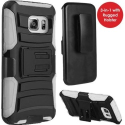 GALAXY S7 Case, Heavy Duty Dual Layer Rugged Holster Defender Full Body Protective Hybrid [Shockproof Hard Case] Cover with Side Kickstand and Belt