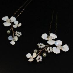 2pcs Crystal U Shape Bridal Wedding Flower Pearls Hair Pins Headpieces