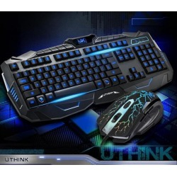 axGear USB LED Light Gaming Keyboard and Mouse Set Color Backlit Multimedia Keys