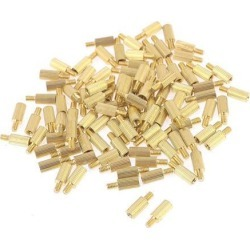 100 Pcs Male Female PCB Thread Brass Pillars Standoff Spacers M2x6mmx9mm