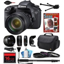 Canon EOS 7D Digital SLR Camera with EF 28-135mm IS USM Lens, 16GB CF SD Card, 72' Monopod, 2.2x Telephoto Lens, Air Cleaner Blower, Carrying Case.