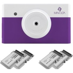 Minolta MNCP10 instapix Instant Print Camera (Purple) with 40-Print Bundle