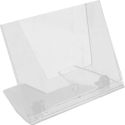 Office Counter Plastic L-Shaped Display Name Business Card Holder Clear