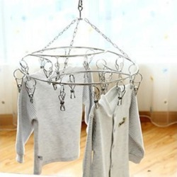 Stainless Steel Laundry Drying Rack With 20-Clip for Clothes Sock Underwear
