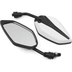 Unique Bargains Universal Motorcycle Chopper Cruiser Rearview Side Mirrors 10mm White Black 2pcs