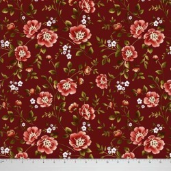 Soimoi Dressmaking 58 Inches Wide Floral Printed 60 GSM Cotton Fabric For Sewing By The Meter - Maroon