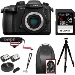 Panasonic GH5 Lumix 4K Mirrorless Camera (Body Only) with Rode VideoMic Bundle