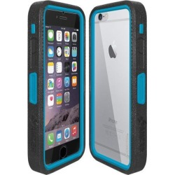 Amzer CRUSTA Rugged Case Black on Blue Shell Tempered Glass with Holster for iPhone 6 Plus