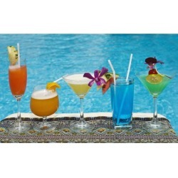 Posterazzi DPI1875194 Chiang Mai, Thailand - Tropical Drinks By The Pool At Horizon Resort Poster Print, 19 x 12