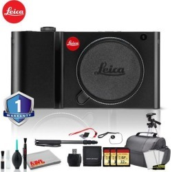 Leica TL Mirrorless Digital Camera (Black) RENEWED - Bundle with 3x32GB Memory Card + 2x Battery + Leica Flash Black + Editing Software Kit +