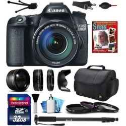 Canon EOS 70D Digital SLR Camera with EF-S 18-135mm IS STM Lens, 32GB SD Card, 72' Monopod, 2.2x Telephoto Lens, 0.43x HD Wide Angle Lens, 10pcs.