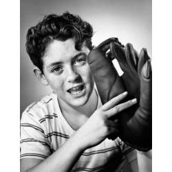 Posterazzi SAL25550101 Portrait of a Boy Wearing a Baseball Glove Poster Print - 18 x 24 in.
