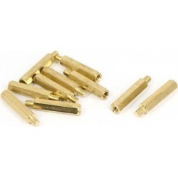 M3x20mm+4mm Male to Female Thread 0.5mm Pitch Brass Hex Standoff Spacer 10Pcs