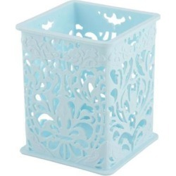 Office Desk Plastic Hollow Out Design Stationery Storage Basket Container Blue
