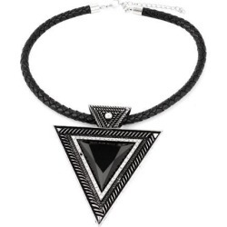 Unique Bargains Black Triangle Shape Pendant Woven Rope Chain Collar Choker Necklace for Woman