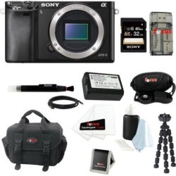 Sony a6000: Alpha a6000 ILCE-6000/B ILCE6000B 24.3 Interchangeable Lens Camera Body + Sony 32GB SDHC Card + Case + Wasabi Power Replacement NP-FW50.