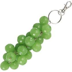 Green Plastic Grape Shape Pendant Lobster Hook Keychain Keyring