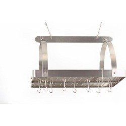 Satin Nickel Hanging Pot Rack with Grid
