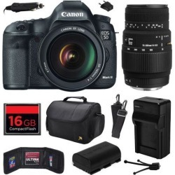 Canon EOS 5D Mark III 22.3 MP Full Frame CMOS Digital SLR Camera with EF 24-105mm f/4 L IS USM Lens and Sigma 70-300mm f/4-5.6 DG Macro Lens with.
