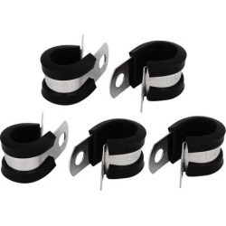 12mm Dia EPDM Rubber Lined P Clips Cable Hose Pipe Clamps Holder 5pcs