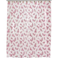 Carnation Home Fashions Living Room Decorative Autumn Leaves Vinyl Shower Curtain in Burgundy