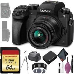 Panasonic Lumix DMC-G7 Mirrorless Micro Four Thirds Digital Camera w/ 14-42mm Lens (Black) - 64GB - Memory Card Wallet - Reader - Battery - 72' Tripod