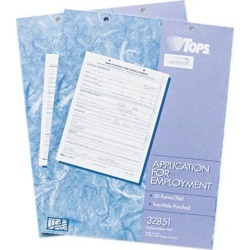 Tops 32851 Application For Employment, White, 2-Sided, 50 SH