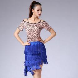Latin Ballroom Dance Short Sleeve Dance Tops Practice Costume L Leopard