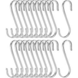 Stainless Steel S Hooks 3.15' S Shaped Hook Hangers for Kitchen Bathroom Bedroom Storage Room Office Outdoor Multiple Uses 20pcs
