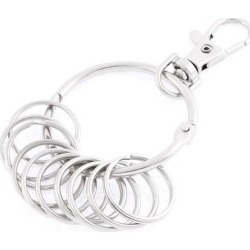 Lobster Clasp 10 Rings Keyring Key Chain Holder 38mm Dia Silver Tone